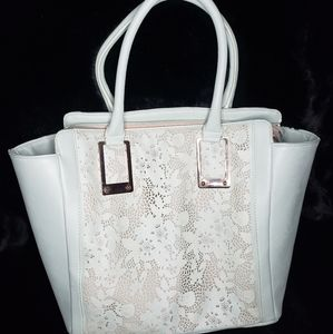 ALDO teal tote bag with beautiful lace detailing